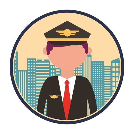 airplane pilot with cityscape vector illustration design