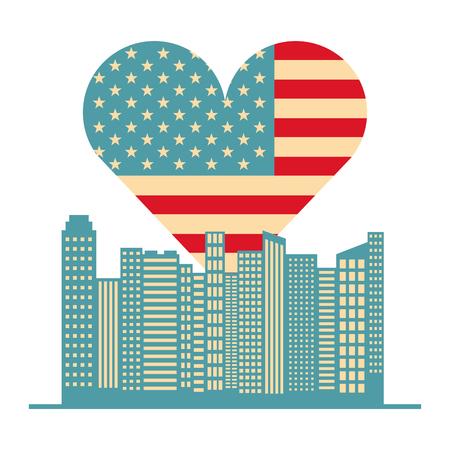 usa flag heart and buildings vector illustration design