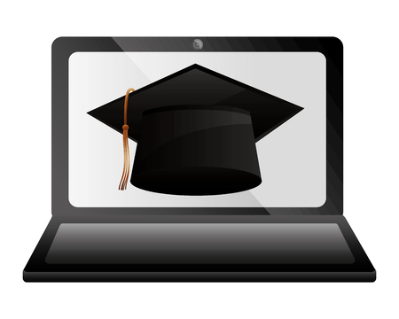 elearning laptop with hat graduation vector illustration design Stok Fotoğraf - 112385071