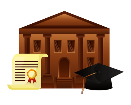 diploma graduation with hat and school building vector illustration design