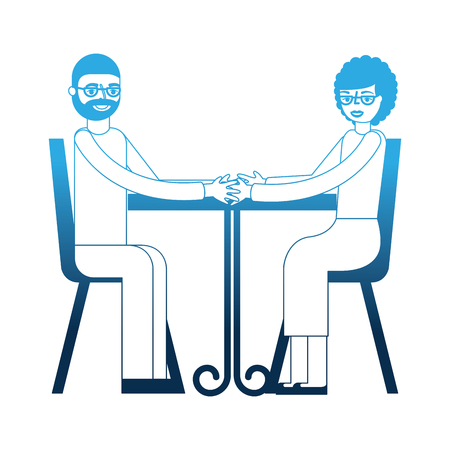 grandpa and grandma holding hands in the table vector illustration Фото со стока - 112385076