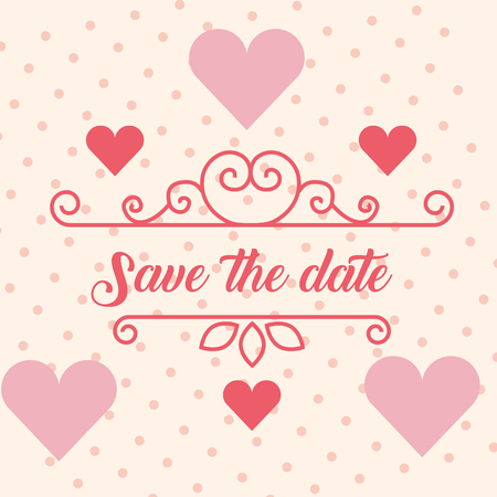 save the date wedding love hearts card vector illustration