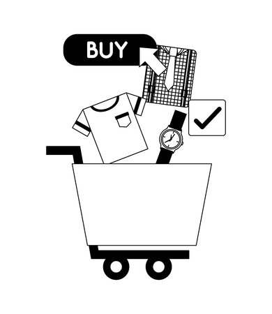 shopping cart watch clothes clicking buy online vector illustration monochrome