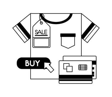 shirt bank credit cards price tag sale buy online vector illustration monochrome Foto de archivo - 112385084