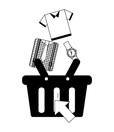 shopping cart accessory clothes buy online vector illustration monochrome