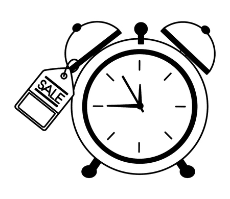 alarm clock hour tag price commerce vector illustration monochrome  イラスト・ベクター素材