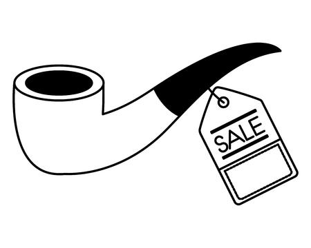 tobacco pipe accessory tag price commerce vector illustration monochrome Stock fotó - 112385096