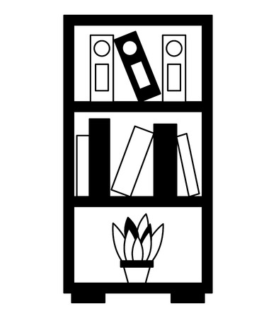 bookshelf folders books and potted plant vector illustration monochrome
