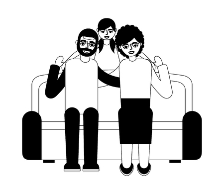 grandparents with granddaughter sitting on sofa vector illustration monochrome