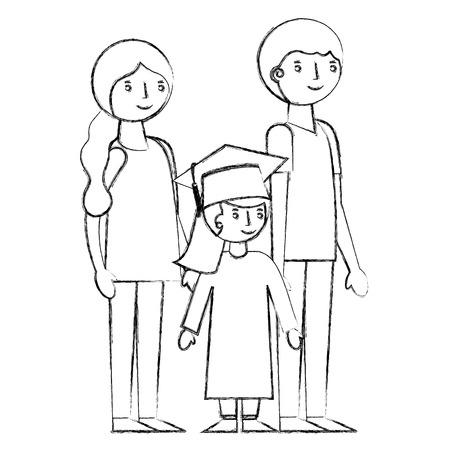 smiling parents and daughter graduate girl vector illustration sketch