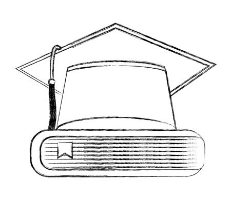 graduation hat books school achievement vector illustration sketch  イラスト・ベクター素材