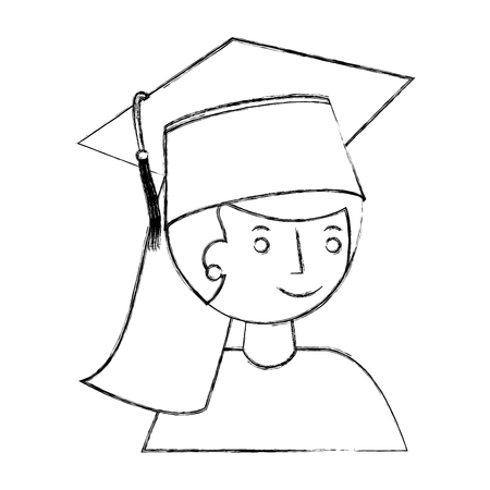 graduate girl portrait in graduation hat vector illustration sketch