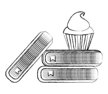 school stacked book and sweet cupcake vector illustration sketch Standard-Bild - 112385113