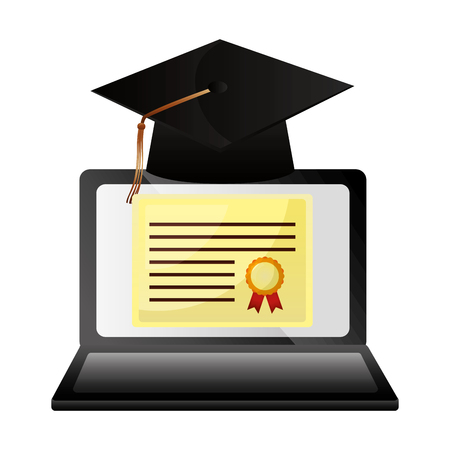 elearning laptop with hat and diploma graduation vector illustration design Çizim