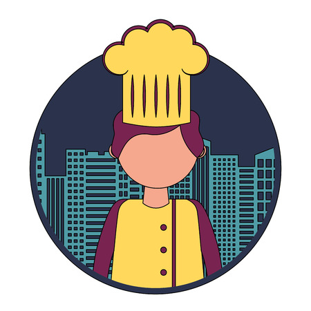 restaurant chef with cityscape vector illustration design