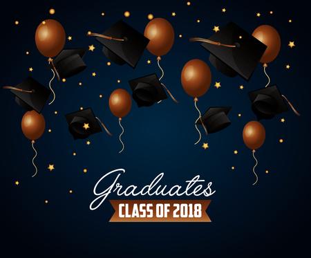 congratulations graduation brown balloons celebration hats stars background vector illustration