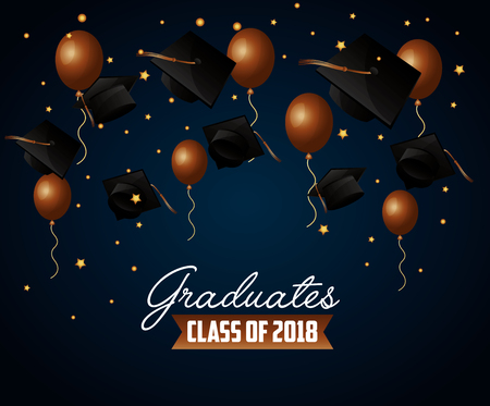 congratulations graduation brown balloons celebration hats stars background vector illustration