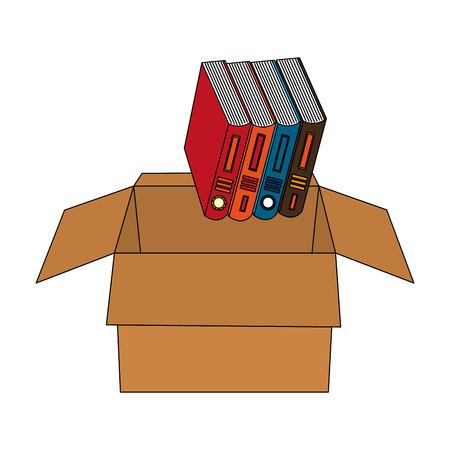 library pile books in carton box vector illustration design