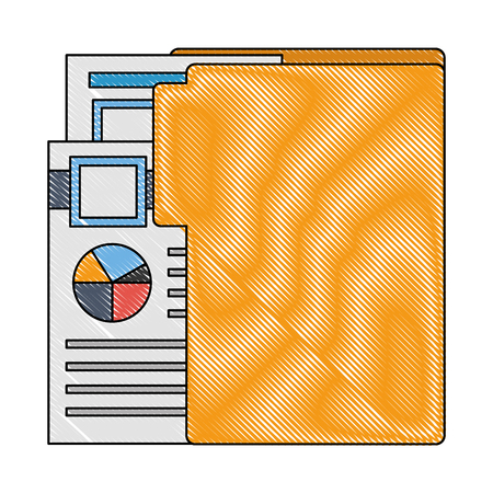 folder with documents files of statistics graphic vector illustration design