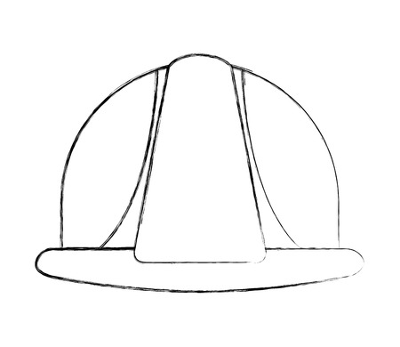 construction helmet protection accessory image vector illustration sketch