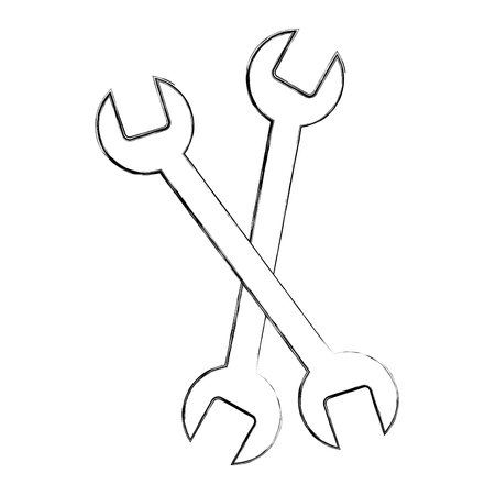 crossed wrench tools equipment repair vector illustration sketch