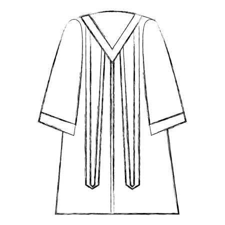 traditional graduation robe dress elegance vector illustration sketch