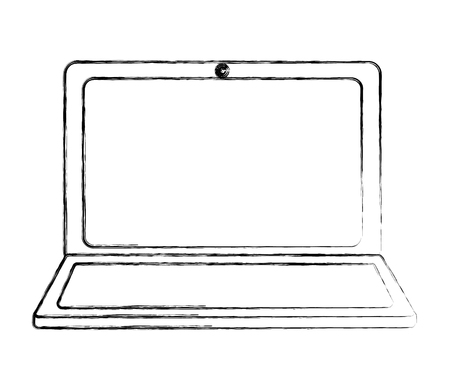 laptop computer device gadget digital vector illustration sketch