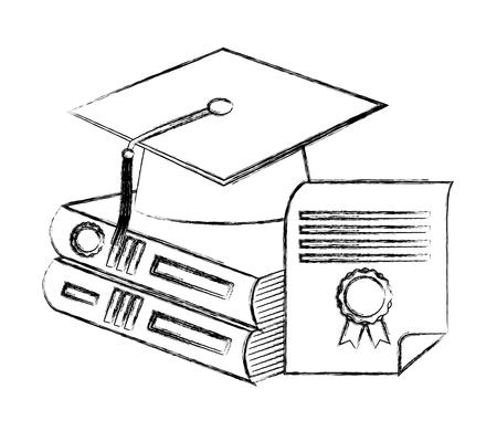 Libros de pila de sombrero grduation y boceto de ilustración de vector de diploma