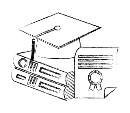 grduation hat pile books and diploma vector illustration sketch Illustration