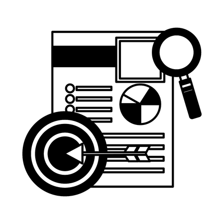 curriculum vitae with magnifying glass and target vector illustration design  イラスト・ベクター素材
