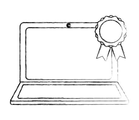 laptop computer medal award education online vector illustration sketch Standard-Bild - 112385177