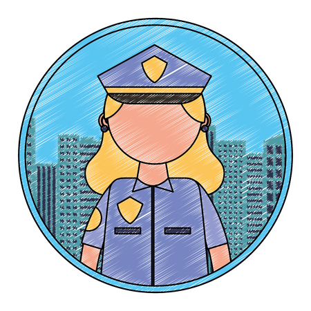 police woman portrait character city vector illustration