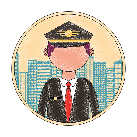 commercial air pilot portrait character city vector illustration