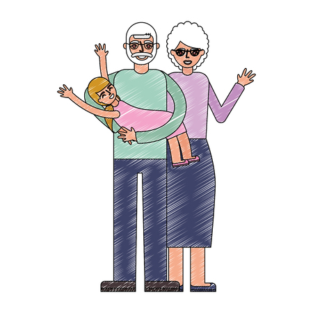 grandparents playing with her granddaughter vector illustration drawing
