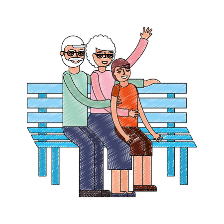 grandparents with grandson sitting on bench vector illustration drawing