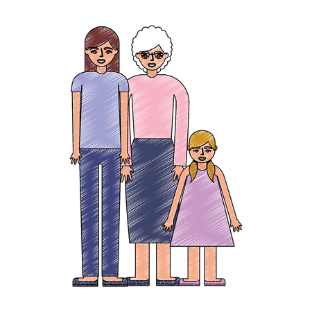 mom grandmother and daughter together family vector illustration drawing Ilustrace