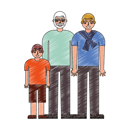 grandfather dad and son together vector illustration drawing Фото со стока - 112385184