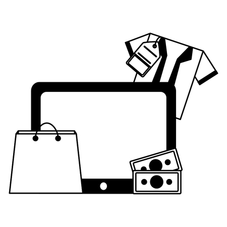 tablet device with shirt and objects vector illustration design