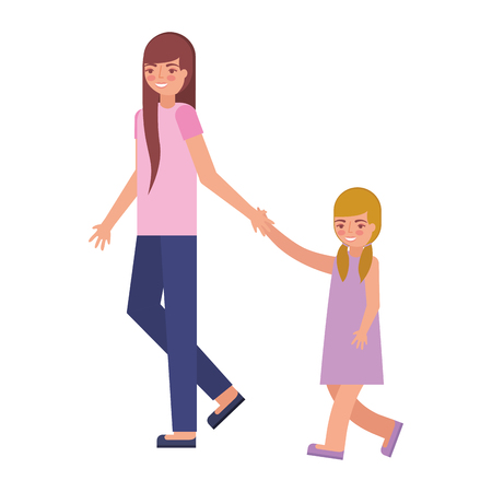 cute mother with daughter avatar character vector illustration design 向量圖像