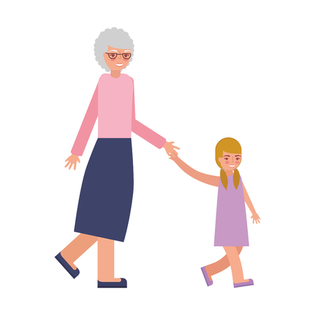 cute grandmother with granddaughter avatar character vector illustration design