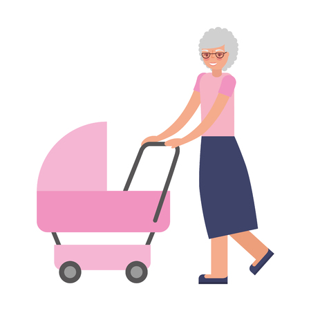cute grandmother with baby cart vector illustration design Иллюстрация