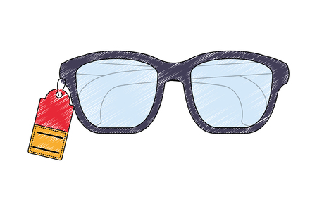 eye glasses with label isolated icon vector illustration design