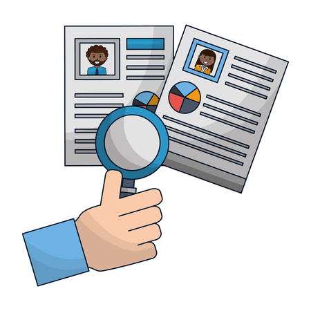 hand with set of curriculum vitae and magnifying glass vector illustration design 写真素材 - 112387879