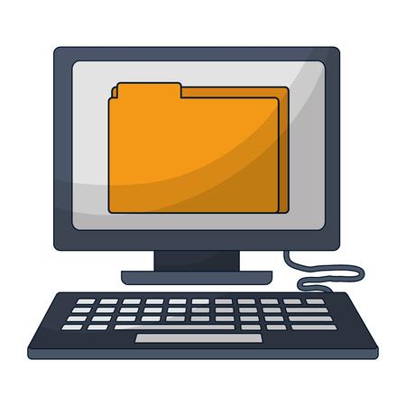 desktop computer with folder isolated icon vector illustration design Vektorové ilustrace