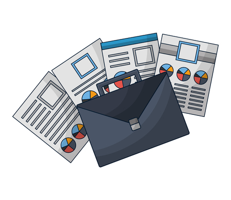 portfolio briefcase with document file icon vector illustration design