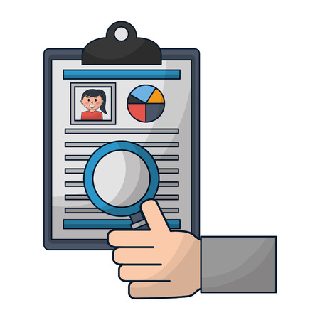 hand with curriculum vitae and magnifying glass vector illustration design Illustration