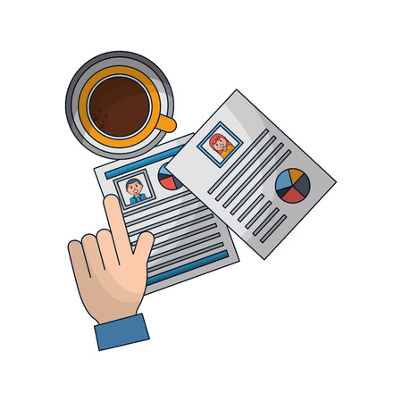 set of curriculum vitae with coffee cup vector illustration design Illustration