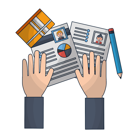 hands with curriculum vitae and objects vector illustration design  イラスト・ベクター素材