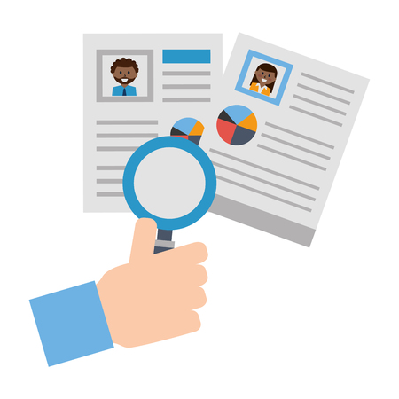 hand with set of curriculum vitae and magnifying glass vector illustration design Illustration