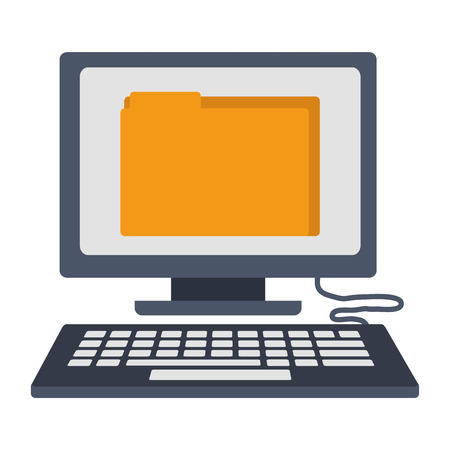 desktop computer with folder isolated icon vector illustration design Vectores